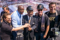 L to R; Peter Guber, Magic Johnson, councilman Curren Price, Jr., Will Ferrell and Tony Robbins at the groundbreaking of the new Banc of California stadium which will house the Los Angeles Football Club. Groundbreaking for the stadium, which will be built on the site of the Sports Arena, was held Tuesday. The project is scheduled for completion in 2018. (Photo by David Crane Southern California News Group)